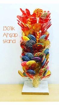 Resim 150'li Tezgah Üstü Ahşap Standlı Kuki Şeker 150*30GR