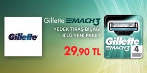 Gillette Mach3 Yedek Tıraş Bıçağı 4'lü Yeni Paket Kampanyası kampanya resmi