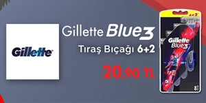 Gillette Blue3 Tıraş Bıçaklarında 6+2 Kampanyası kampanya resmi