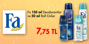 Fa 150 ml Deodorant ve 50 ml Roll-on Ürünlerinde SÜPER FIRSAT kampanya resmi