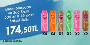 Elidor 500 ml x 10 Şampuan ve 500 ml x 6 Saç Kremleri Bakkal Kolisi kampanya resmi