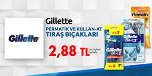Gillette Kullan-At ve Permatik Tıraş Bıçaklarında En İyi Fiyatlar kampanya resmi