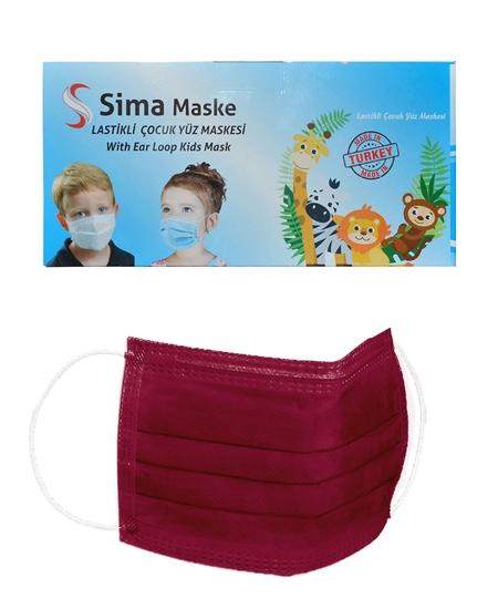 Picture of 3 Katlı Telli Sima Çocuk Maske 50'li Paket Bordo 4-12 Yaş