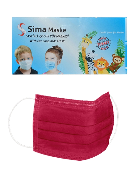 Picture of 3 Katlı Telli Sima Çocuk Maske 50'li Paket Koyu Pembe 4-12 Yaş