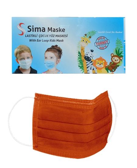 Picture of 3 Katlı Telli Sima Çocuk Maske 50'li Paket Turuncu 4-12 Yaş