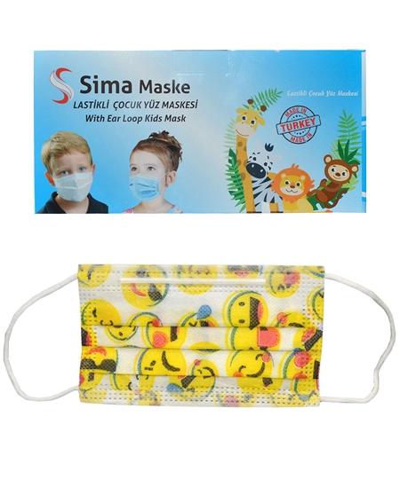 Picture of 3 Katlı Telli Sima Çocuk Maske 50'li Paket Emoji Desenli 4-12 Yaş
