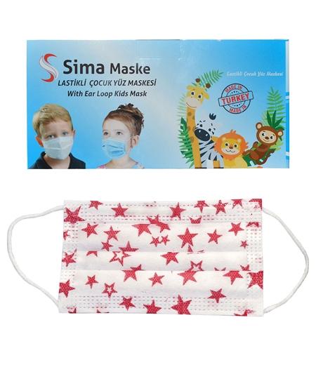 Picture of 3 Katlı Telli Sima Çocuk Maske 50'li Paket Yıldız Desenli 4-12 Yaş