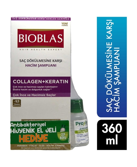 Picture of Bioblas Şampuan 360 ml Saç Dökülmesine Karşı Hacim + 30 ml Proxentin Dezenfektan Hediye