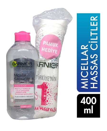 Picture of Garnier Makyaj Temizleme Suyu 400 ml Micellar + Pamuk Hediyeli