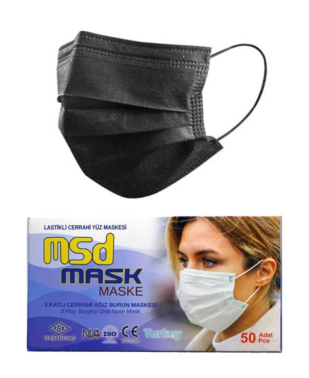Picture of 3 Layer Wire MSD Surgical Mask 50-Pack Black